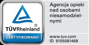 Certyfikat TUV - Agencja opieki nad osobami niesamodzielnymi